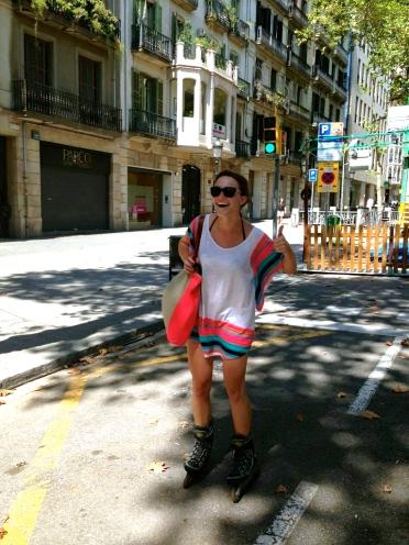 Roller blading in Barcelona