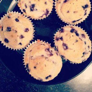 Blueberry muffins made by yours truly y la abrileta
