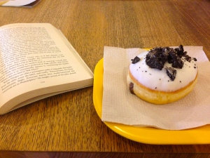 Finished the inaugural book for our Book Club from Afar (Emily Giffin's Love the One You're With), while enjoying an Oreo & Nutella greek donut at Lukamus!