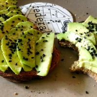 Avocado, sesame seed, lemon toast - too good.